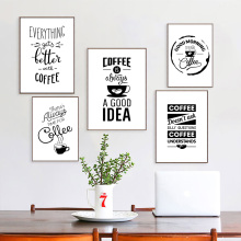 Quotes Posters And Prints Coffee Shop Poster Print Black White Canvas Nordic Modern Picture Painting Home Decorative
