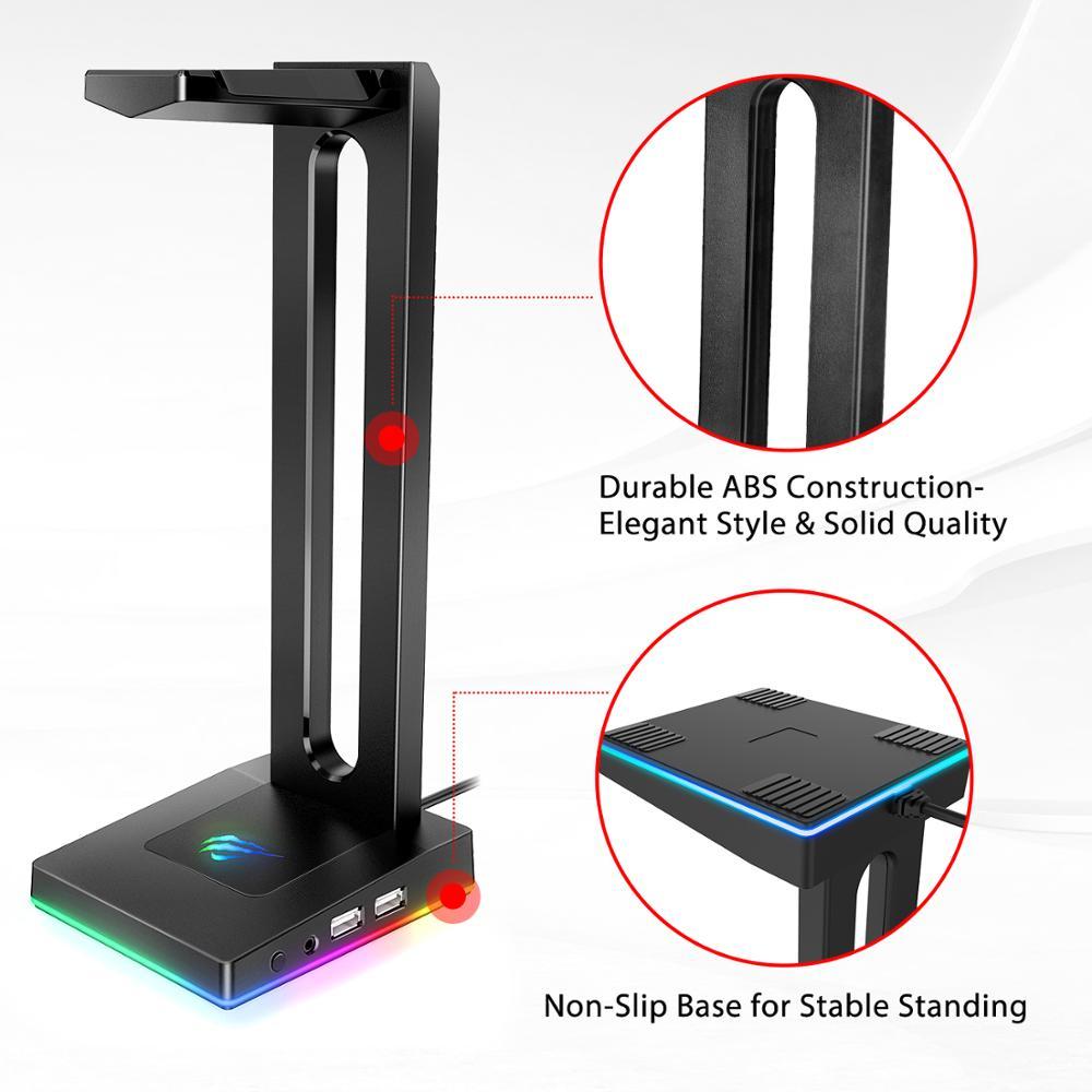 Havit TH630 RGB ausinių stovas su 3,5 mm AUX ir 2 USB jungtimis, - Nešiojami garso ir vaizdo įrašai - Nuotrauka 3