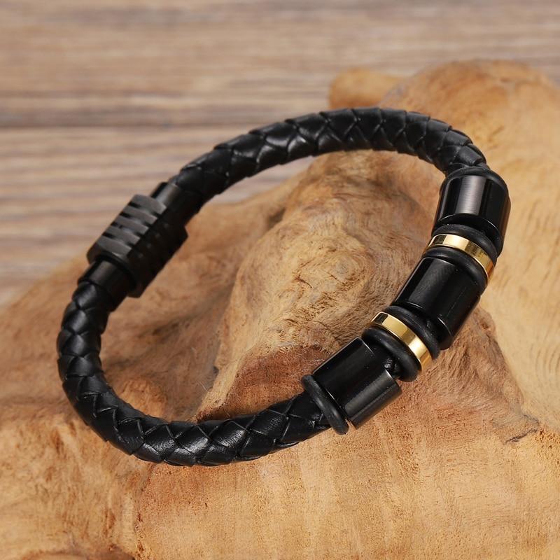 MingAo-Bracelets perlés en cuir personnalisés pour hommes, breloque Chakra monocouche, couleur or/noir, Bracelets pour femme 4