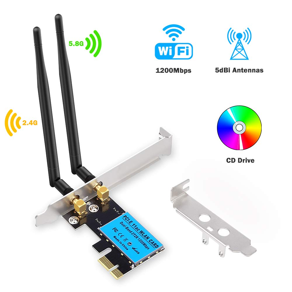 Onvian Wireless Network Card AC1200Mbps PCI-E Dual Band 5G/2.4G WiFi Adapter Network Card For Windows 10/Windows 8/Windows 7