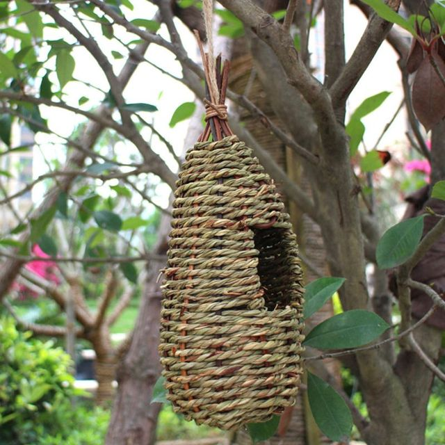 Hanging Bird House Natural Fiber - Finch Bird Nest  - Durable - Breathable - Eco-Friendly 1