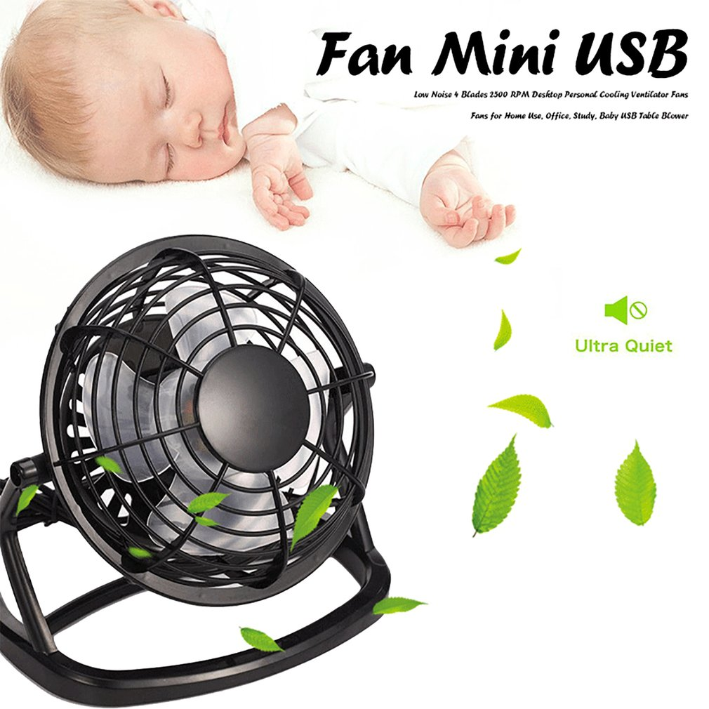 USB Silent Fan for Desk Mini USB Powered Desktop Low Noise Cooler Personal Cooling Ventilator Fans for Home Use Baby USB Table Blower Study Office
