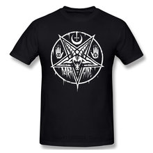 Футболка с принтом пентаграммы, багомет, сатана, шведская музыкальная группа, крутая и забавная Повседневная модная хлопковая футболка с ко...