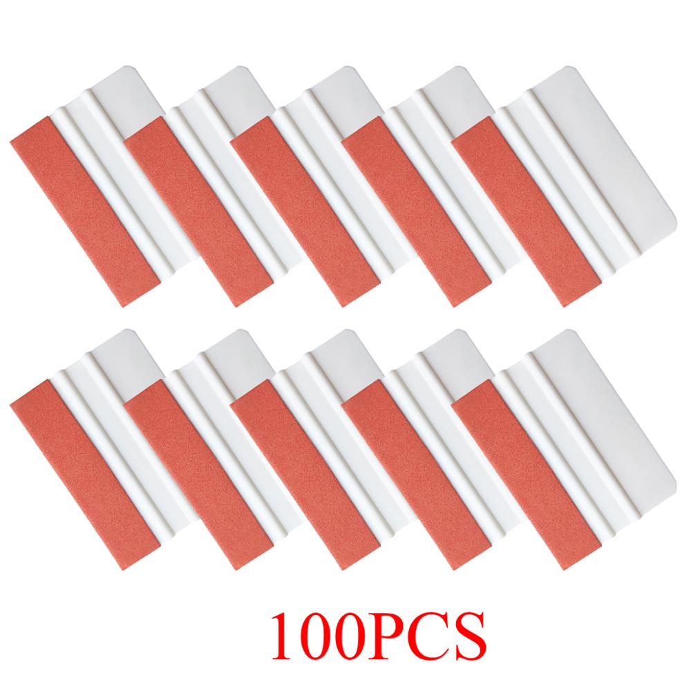 100pcs Suede Felt Squeegee Window Tint Tools Car Foil Wrapping Vinyl Sticker Film Install Tool House Car Cleaning Scraper A51