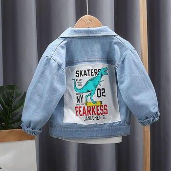 INS HOT baby boys denim jacket 1-4 years old Children's clothing applique Cartoon dinosaur outdoor coat online celebrity coat