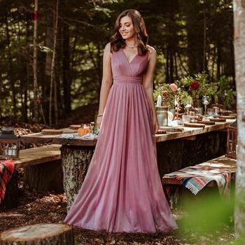 Gorgeous Evening Dresses Ever Pretty 2020 V-Neck A-Line Sleeveless Floor-Length EZ07764NB Sparkle  Party Gown Robe De Soiree