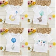 Camiseta para crianças para meninos um menino meninas crianças camisas criança do bebê elefante balão dos desenhos animados camiseta roupas curtas