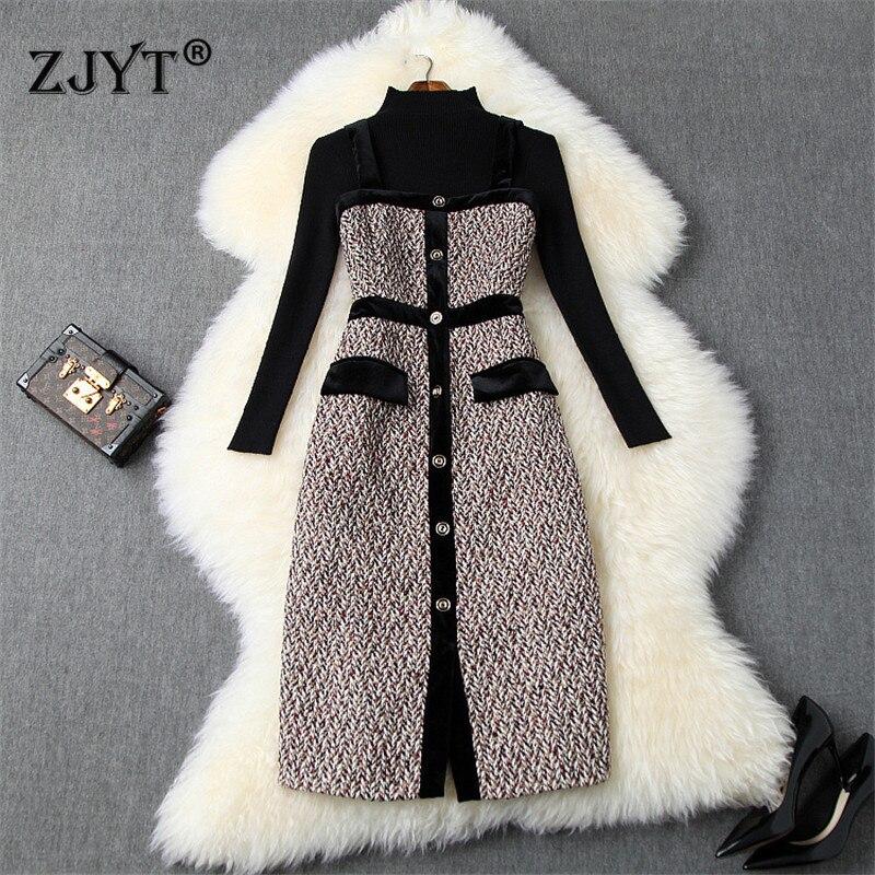 2019 New Designers Fall Winter Dress Female Casual Vestidos Women Long Sleeve Pullovers Knit Top+Tweed Woolen Dress 2piece Sets