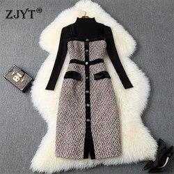 2019 Nieuwe Ontwerpers Fall Winter Jurk Vrouwelijke Casual Vestidos Vrouwen Lange Mouwen Truien Knit Top + Tweed Wollen Jurk 2 stuk Sets