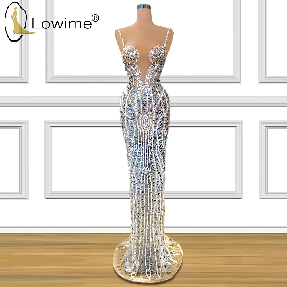 Sexy See Through Spaghetti Diamond Evening Dresses Mermaid Illusion Floor Length Prom Party Dresses Formal Dress Long Robes