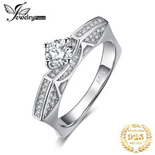 JewelryPalace 1ct Round Cut Cubic Zirconia Solitaire Cathedral Ring 925 Sterling Silver Geometric CZ Pave Shank Hot New arrivals(China)