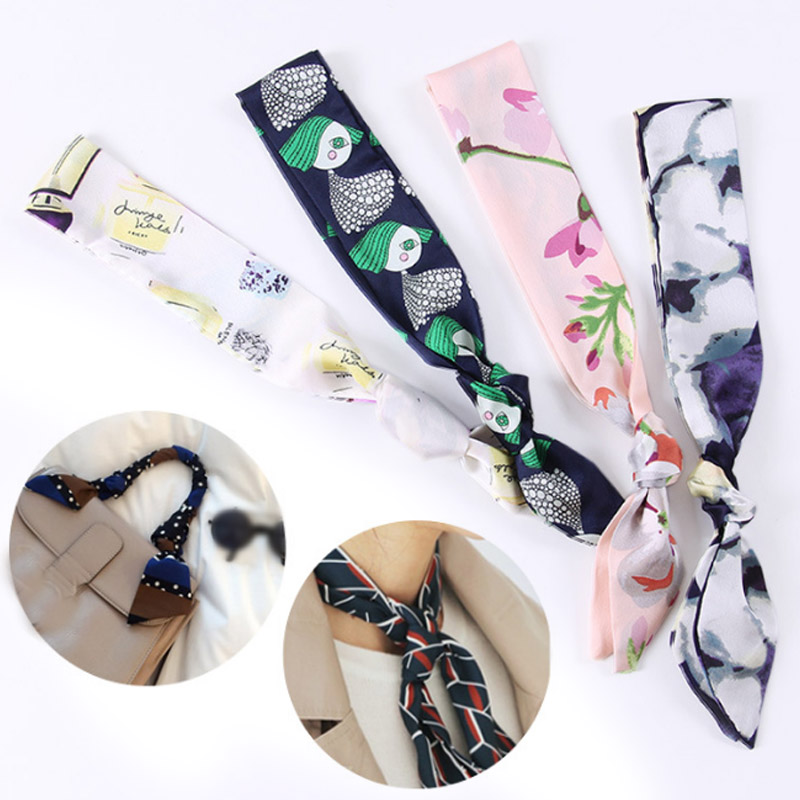 Long Twilly  Hair Tie Band Women Head-Neck  Neckerchief Silk Feel  Small Scarf Bag Handle Decoration