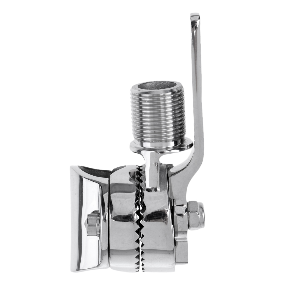 Adjustable 316 Stainless Steel Clamp-on Boats VHF Antenna Mount Base Fitting