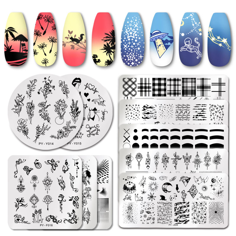 PICT YOU Striped Line Nail Stamping Plates Plants Leaves Lavender Flower French Nail Art Plate Stencil Stainless Steel Design