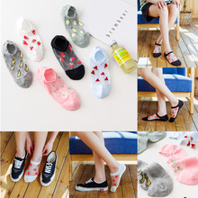 6 Pairs Summer Transparent Casual Harajuku Fruit Print Ankle Socks Women Funny Cotton Bottom Invisible Silk Socks