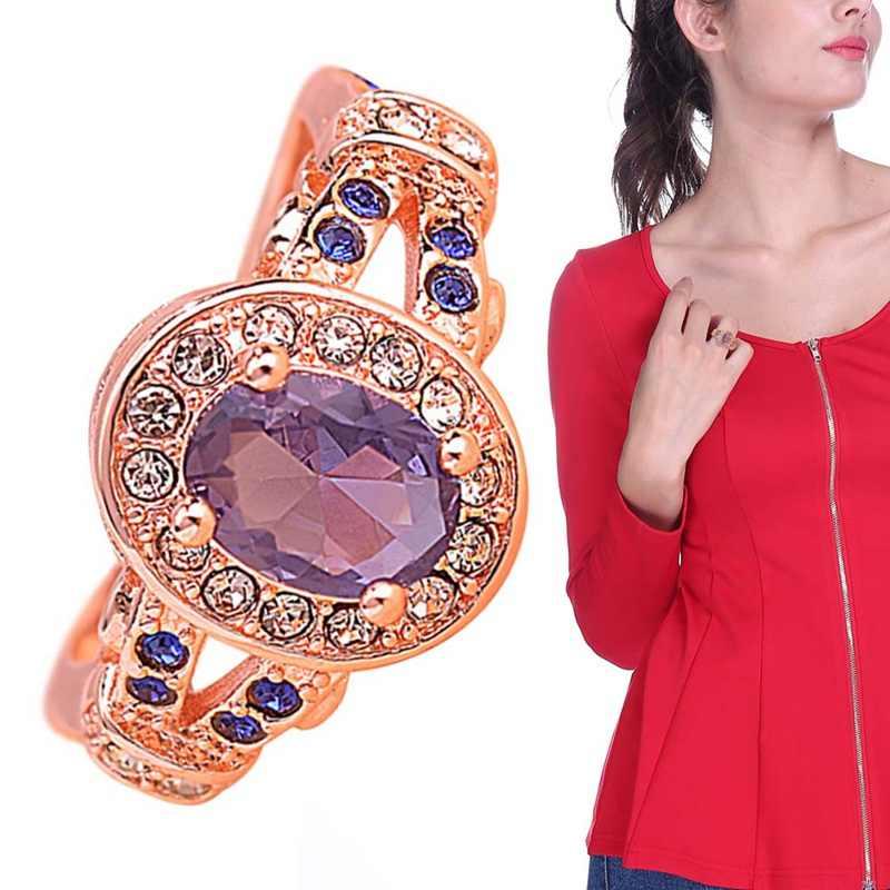 Anillo de piedras preciosas con corte ovalado Natural amatista diamantes sólido 14k oro rosa para mujer anillo de compromiso de boda