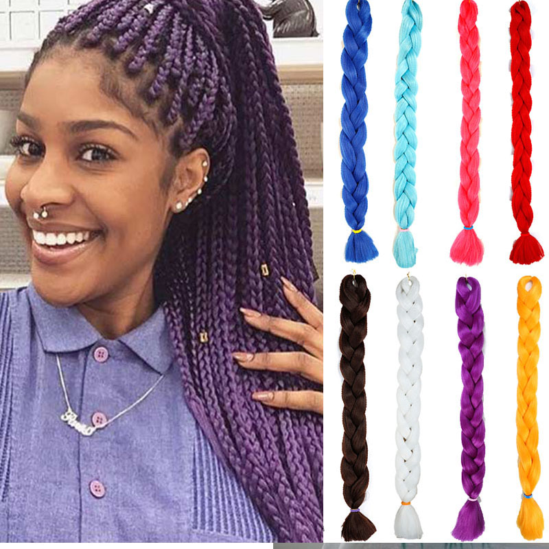 Hair Long Jumbo Braids Crochet Hair Pink Black Purple 82