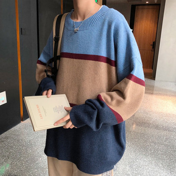 Winter Sweater Men's Warm And Fashionable Hit Color Casual Knitted Pullover Men Streetwear Loose Knitting Sweaters Mens Clothes men s sweaters autumn and winter clothes men s jackets sweaters warm winter clothes men s clothes sweater men mens sweaters