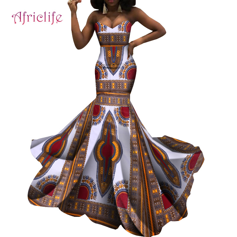 Private Custom Special Strapless Wedding Dresses African Wax Cotton Fashion Java Style Evening Party Clothing WY5479