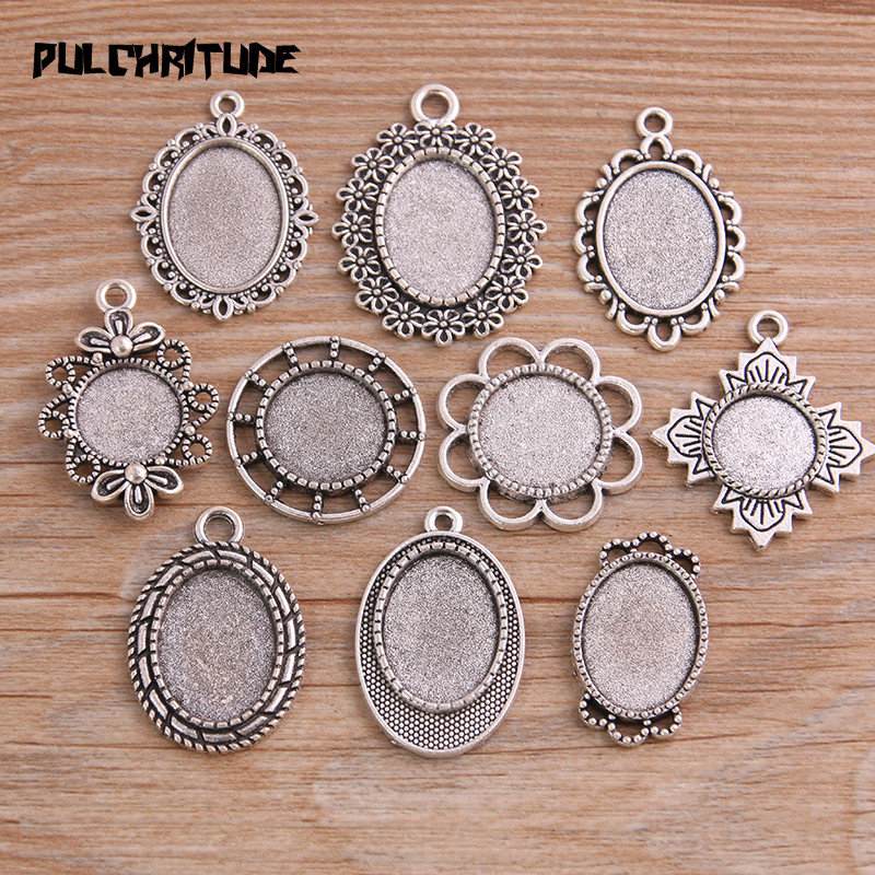 10pcs Mix Size 10 Different Styles Antique Silver Color Metal Alloy Round Oval Cabochon Pendant Setting Jewelry Findings