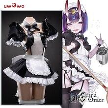 Uwowo Anime Costume Fate/Grand Order FGO Shuten douji Maid Dress Lovely Uniform Cosplay Costume Halloween 2019 new cos