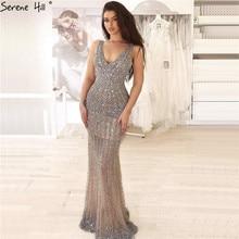 Silver Luxury Deep V Sexy Evening Dresses 2020 Backless Sequined Diamond Mermaid Formal Dress Serene Hill LA70228