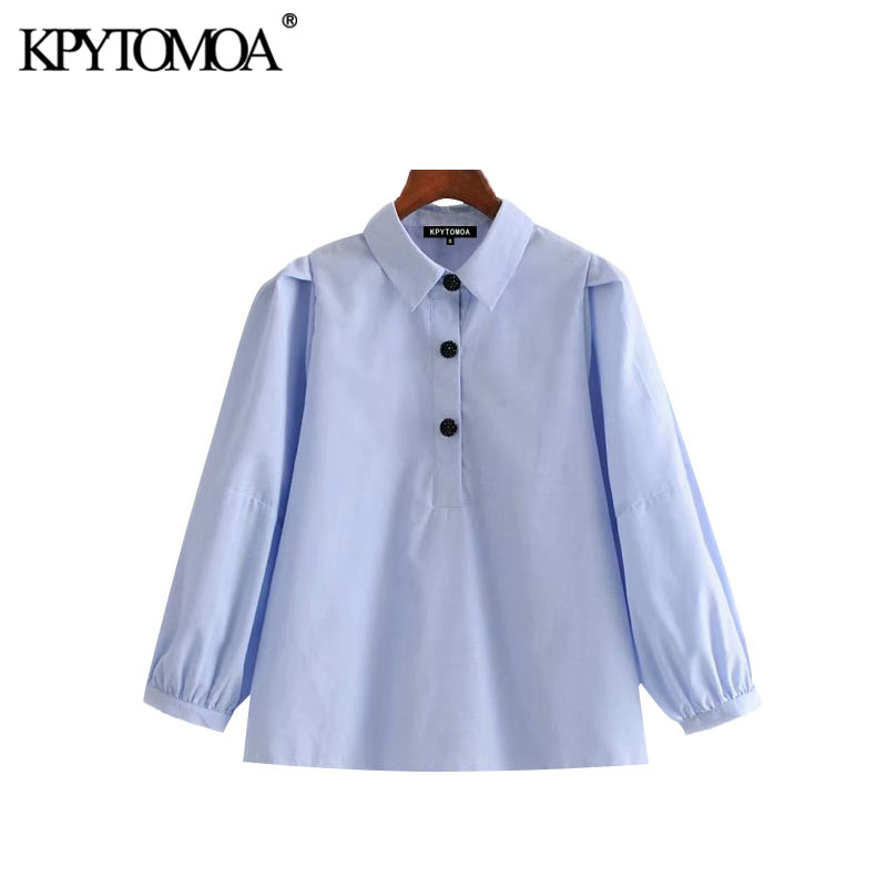 KPYTOMOA Women 2020 Sweet Fashion Jewel Buttons Blouses Vintage Lapel Collar Three Quarter Sleeve Female Shirts Chic Tops