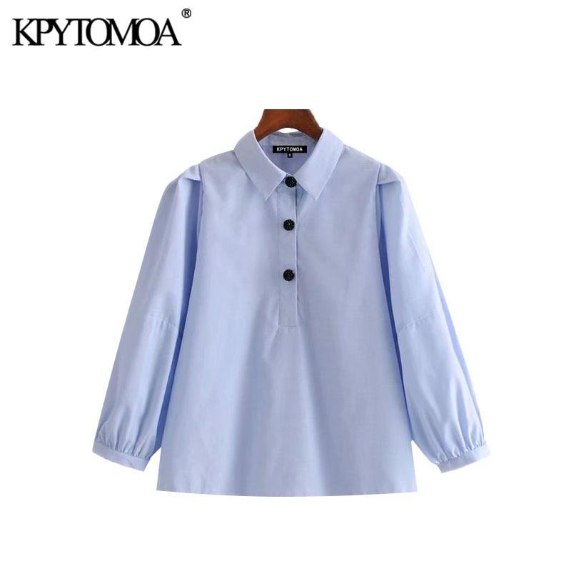 KPYTOMOA Women 2020 Sweet Fashion Jewel Buttons Blouses Vintage Lapel Collar Three Quarter Sleeve Female Shirts Chic Tops