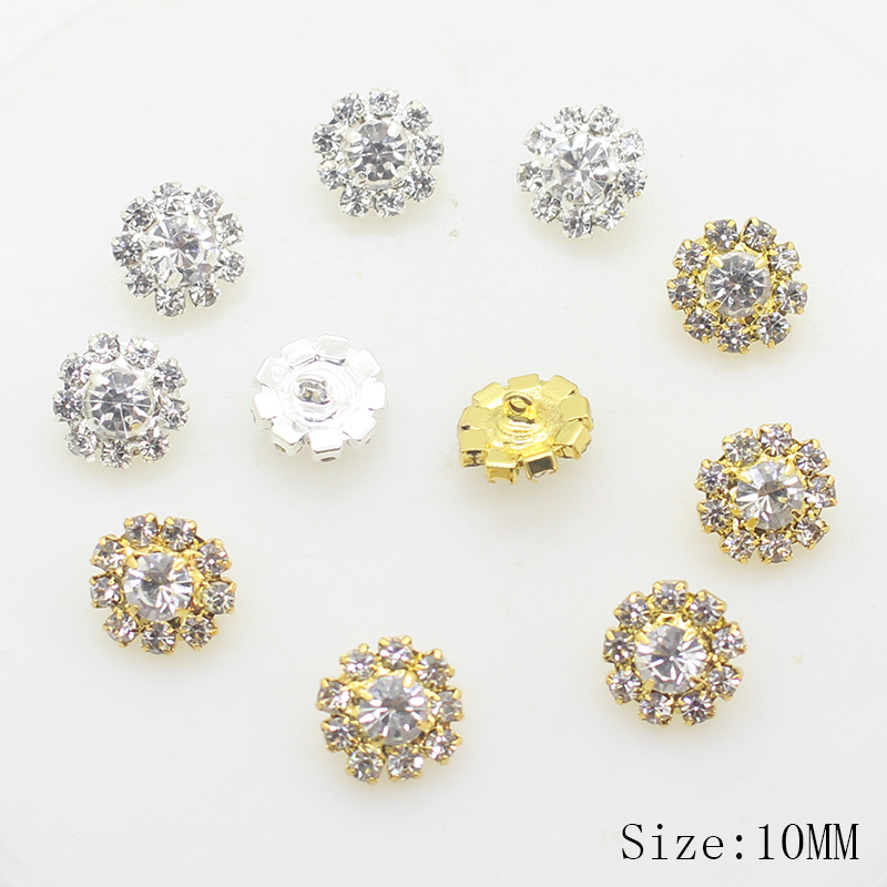 Metal <font><b>Button</b></font> 10pcs / lot10MM Fashion Rhinestone <font><b>Button</b></font> Decoration Metal Sticker Sewing Accessories Sale Price image