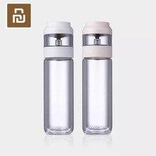 Youpin, separación de doble capa de tazas de té, agua potable blanca, material Tritan familiar para oficina, botella de agua rosa