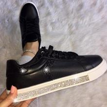 2019 new women flats shoes lace up wedding breathable casual shoe woman round toe shiny crystal wxx069 цены онлайн