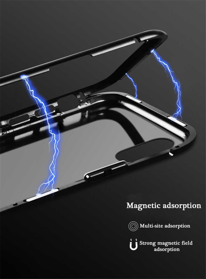 Funda de vidrio de adsorción magnética de Metal para iphone XR X XS 7 8 Plus 6 6S 11 Pro Max, funda de teléfono para iphone 11, funda, Capa, Coque