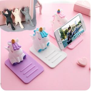 Creative Cartoon Unicorn Phone Holder Tablets Desk Stand Mount Bracket Universal Cute Stand for iPhone Support Cat Suck Holder