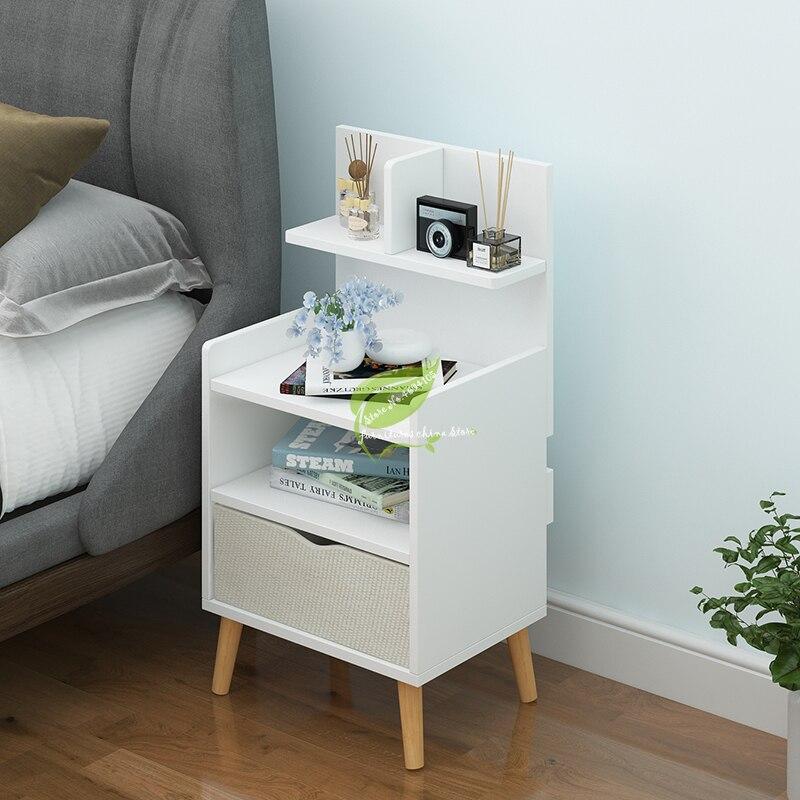 Nordic Simple Modern Bedside Table Shelf 2 Drawers Nordic Cubicle Bedroom Furniture Storage Box Storage Basket Nightstand