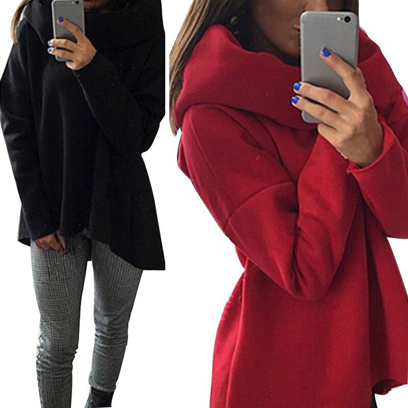 Hooded Hoody Long Sleeve Women's Hoodies Black Scarf Collar Loose Sweatshirt Women Spring Autumn Fashion Casual Woman's Pullover