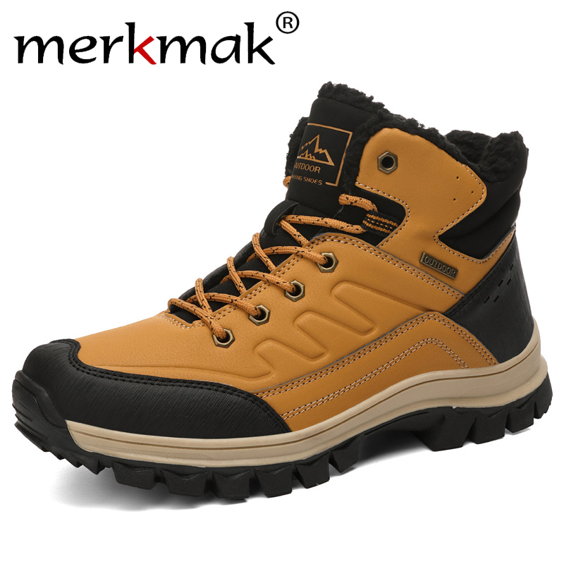 Merkmak 2019 Winter Snow Boots Classic Lace-up Ankle Booties Warm Non-slip Working Shoes Wear-resistant Big Size Motorcycle Boot