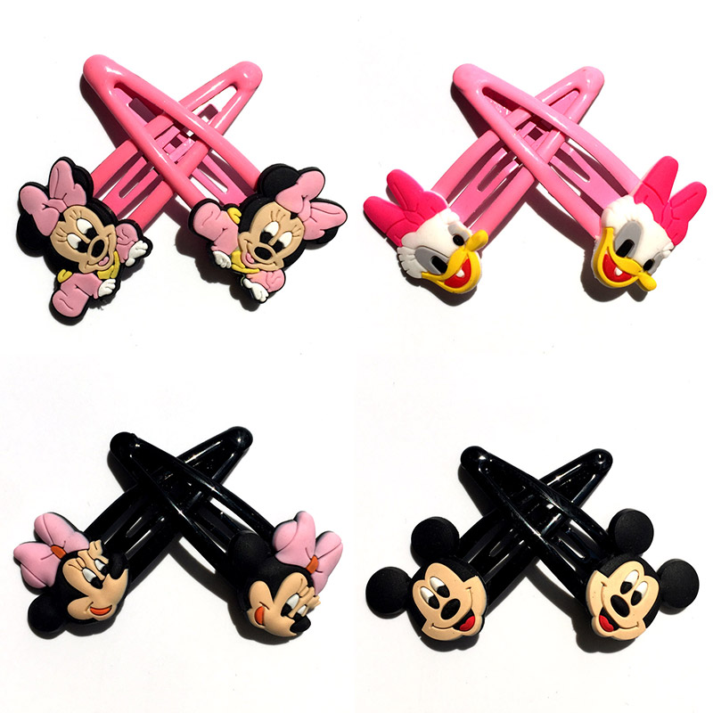 2pcs/pair Mickey Minnie Hair Accessories Hair Clips Hair Bands Cartoon Lovely Hairgrips Hairpin Baby Girls Kids Christmas Gifts
