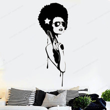 Sexy Hippie Woman Wall Decal Fashion Glamour Girl Vinyl Sticker Make Up Beauty Salon art decoration JH57