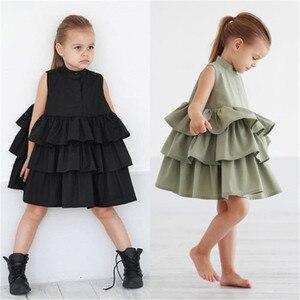 Летнее милое черно-зеленое бальное платье, платья для девочек, детское праздничное платье для девочек, платье без рукавов с круглым вырезом ...