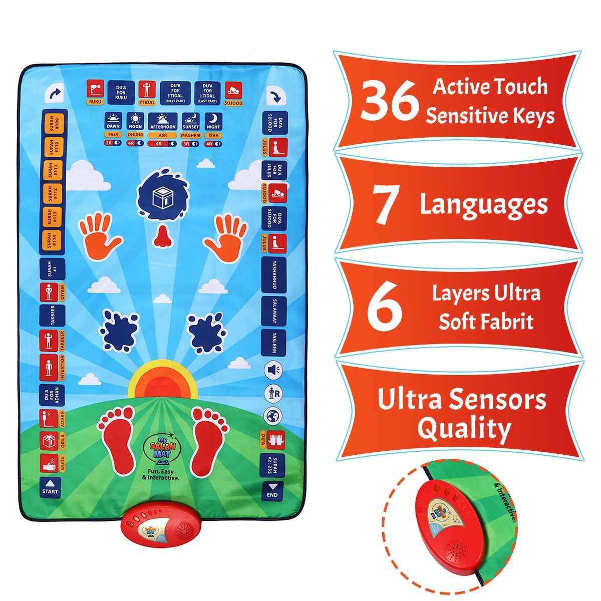 Muslim Electronic Prayer Carpet Kids Educational Prayer Interactive Prayer Mat Muslim Prayer Rug  Islamic Toy Blanket 114*73cm