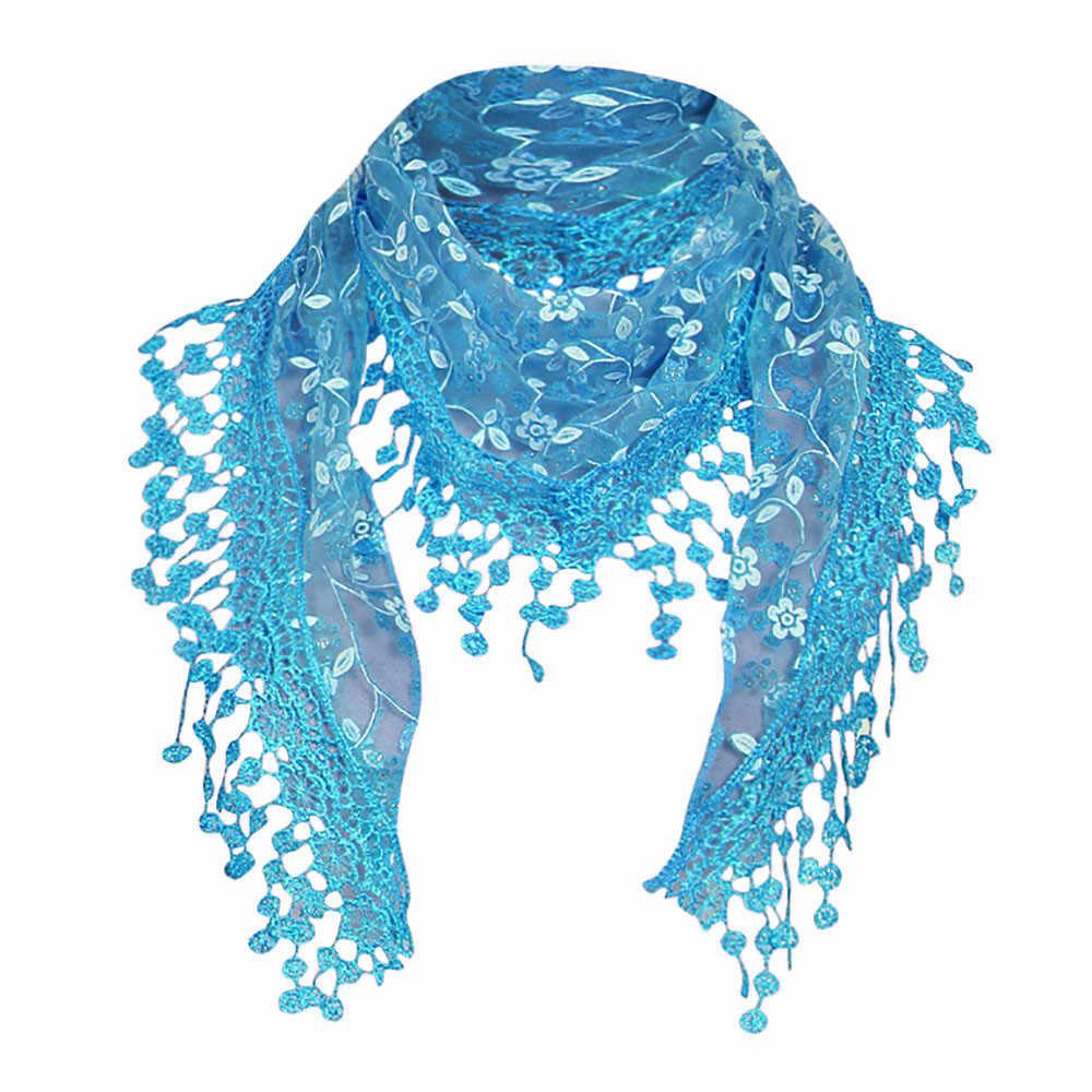 Femmes fleur broderie dentelle écharpe châle gland écharpe femme foulards transparents avec gland dame Triangle chaud col écharpes