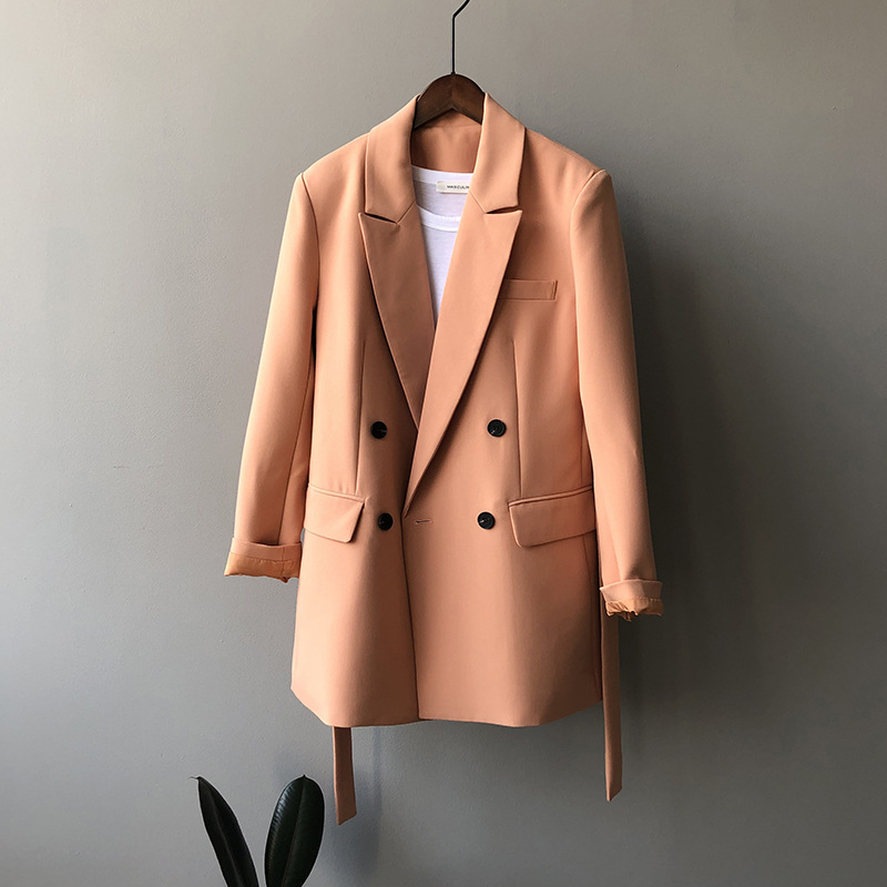 Orange Blzer With Belt Women's Loose Solid Color Waist Korean Style Coat
