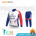 Детский комплект из джерси с длинными рукавами; зимняя детская одежда для велоспорта; FDJ Pro Team; Одежда для мальчиков; MTB; Теплая Флисовая одежд...