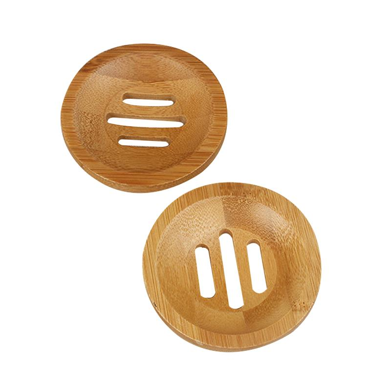 2pcs Soap Holders Bamboo Round Hollow Soap Box Container Soap Dish For Bathroom Storage Rack