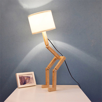 LED E27 Robot Shaped Wooden Bedroom Table Lamp Office Living Room Night Light For Indoor Study Creative Folding Reading Lamp Luz