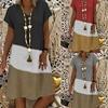 S-5XL Plus Size Dress Summer Women Vintage V-neck Short Sleeve Midi Dress Retro Printed patchwork Loose Beach Casual Dresses 1