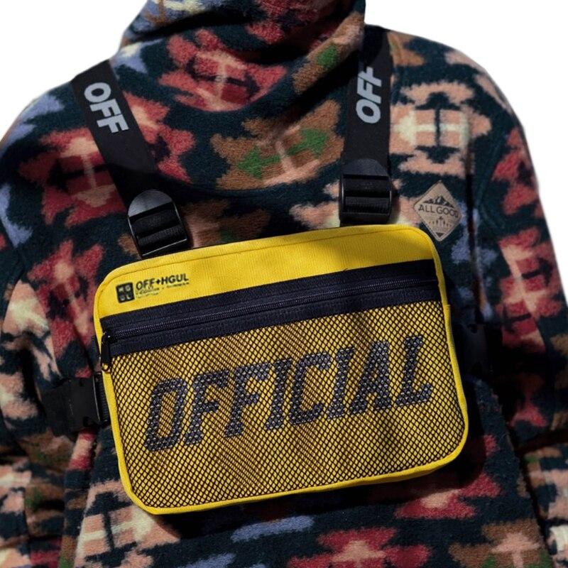Moda streetwear homens hip-hop saco de peito feminino tático duas correias sacos de equipamento de peito na moda estilo retângulo caixa utilitário pacote g122