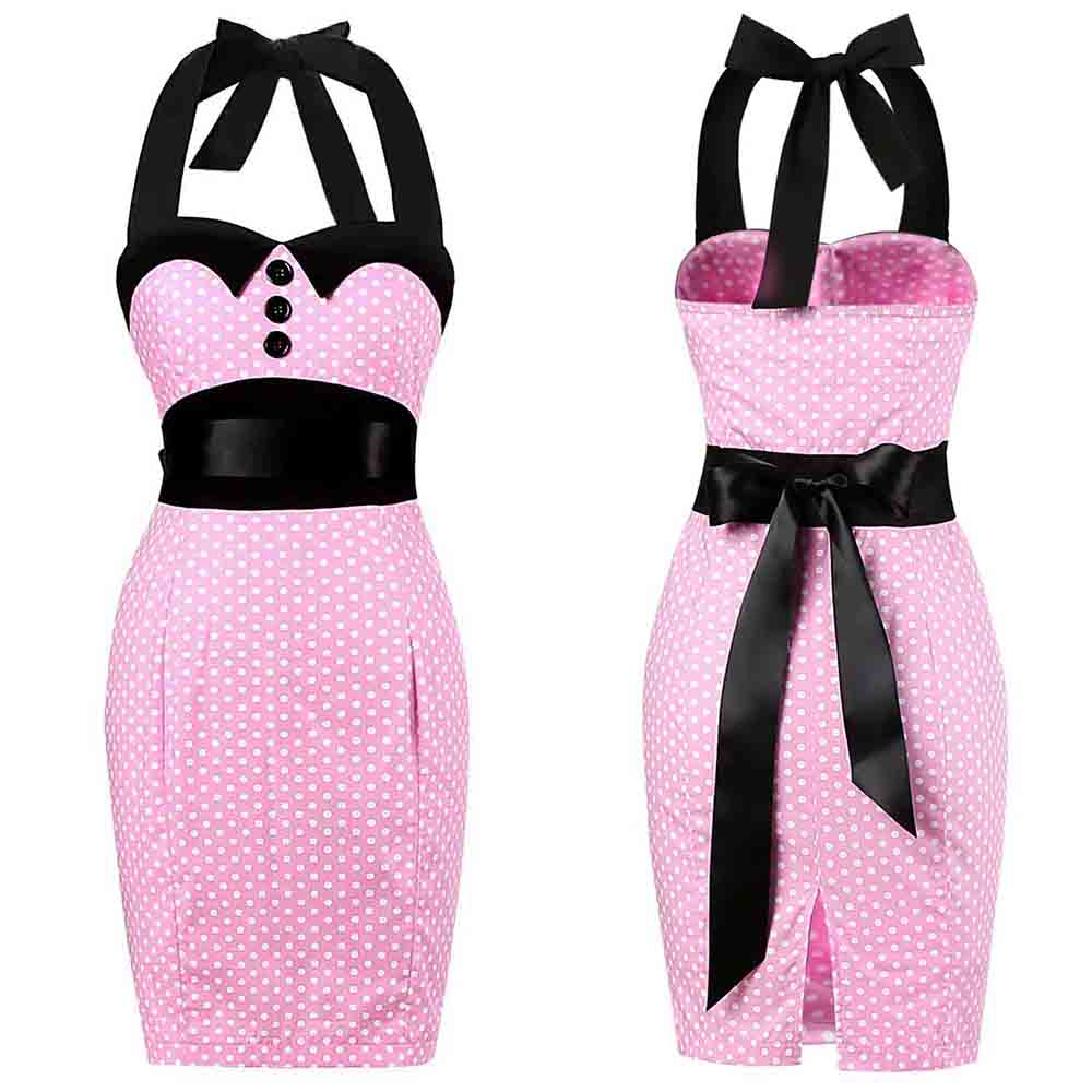 Retro Pink Polka Dot Audrey Hepburn Robe Vintage Halter Dress Plus Size 3XL 2020 50s 60s Gothic Pin Up Rockabilly Bodycon Dress