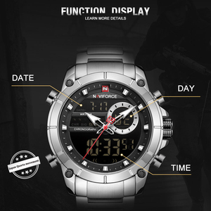 Image 3 - NAVIFORCE Silver Stainless Steel Men Army Military Dual Display Quartz Led Clock Male Waterproof Watches relogio masculino 9163