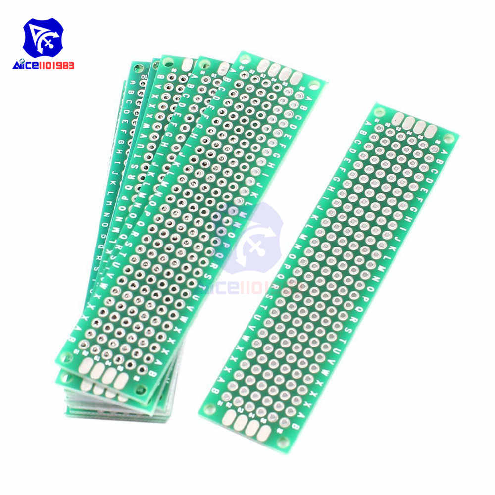 diymore 5PCS/Lot FR4 Glass Fiber DIY Double-Sided Prototype Board 2x8cm Double Sided Universal Printed Circuit Board